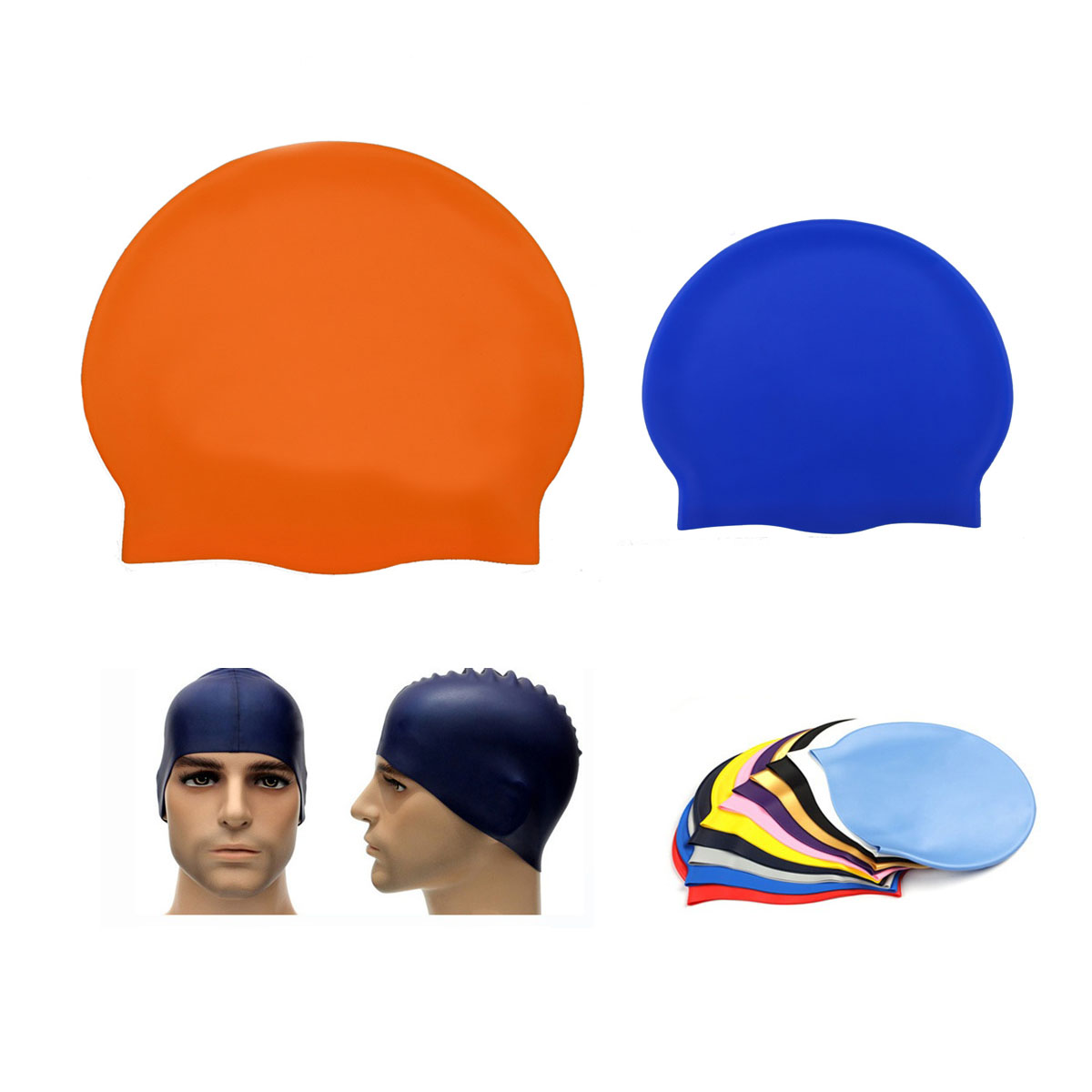 GL-AAJ1023 Solid Color Unisex Waterproof Silicone Swimming Cap