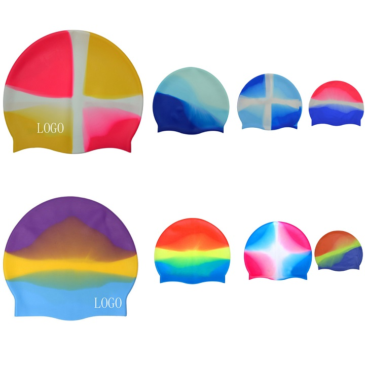 GL-AAJ1024 Unisex Colorful Waterproof Silicone Swimming Cap