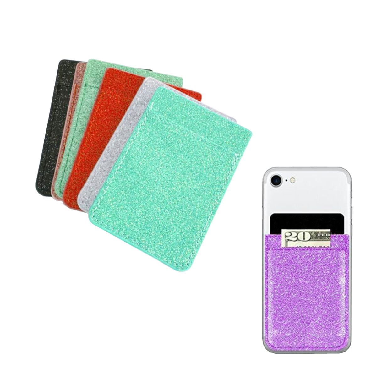 GL-AAA1349 Glitter Leatherete Adhesive Cell Phone Wallet