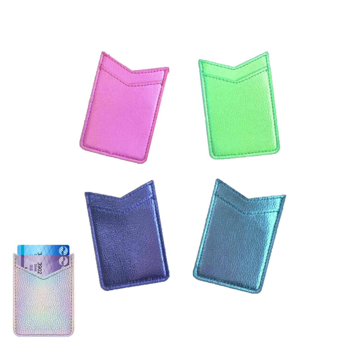 GL-AAA1350 Glitter Leatherete Adhesive Cell Phone Wallet Double Layer