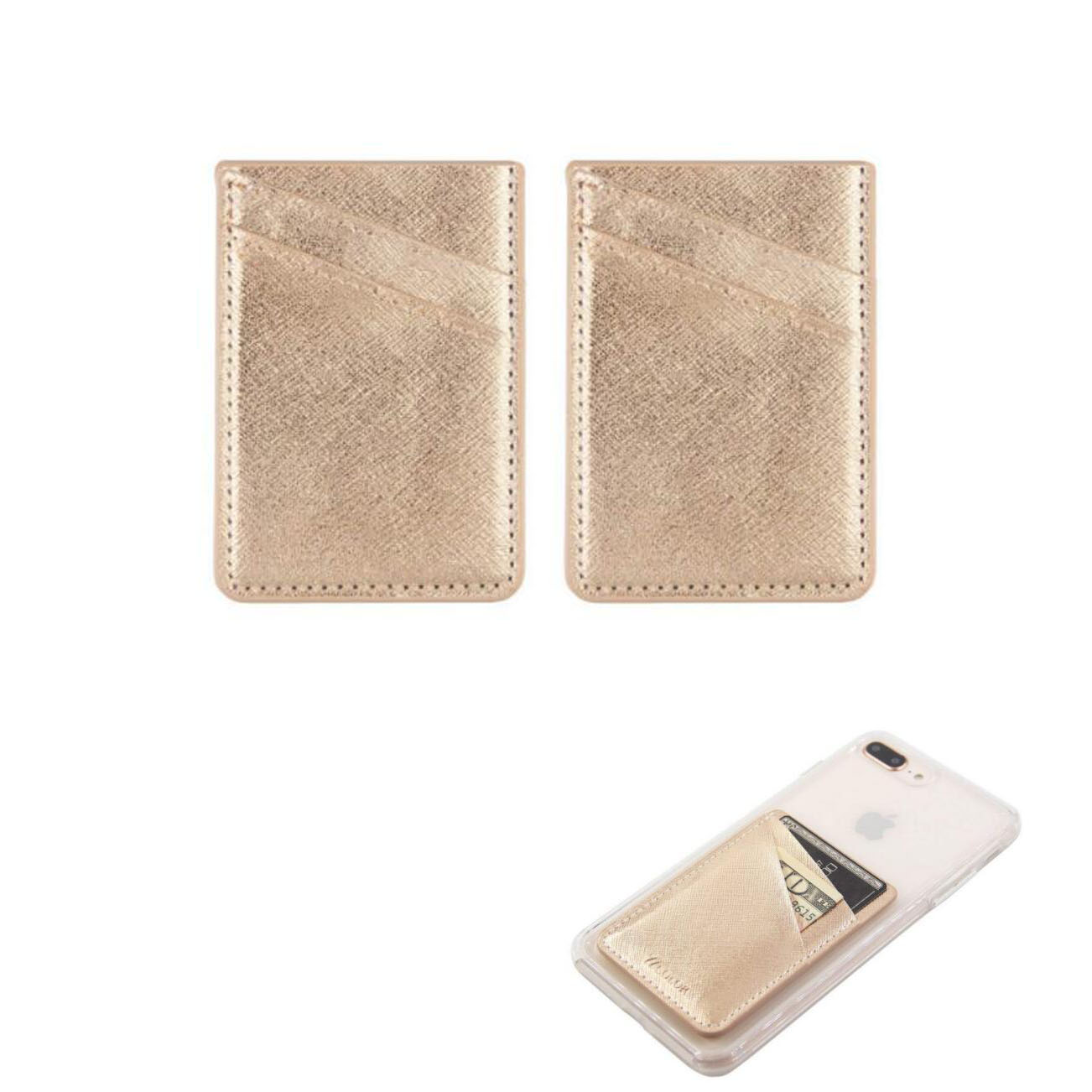 GL-AAA1351 Glitter Leatherete Adhesive Cell Phone Wallet Double Layer